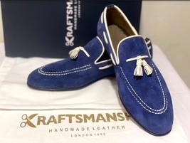 Handmade Men's Blue Suede Slip Ons Loafer Dress/Formal Shoes image 13