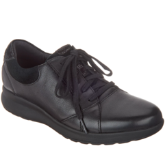 Clarks UnStructured Leather Lace-Up Women's Sneakers - Un.Adorn Lace Black 9 M - $98.99