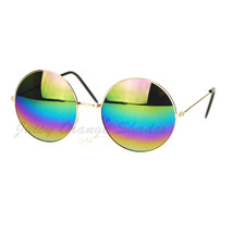 Rainbow Mirror Lens Round Circle Metal Frame Womens Sunglasses - $9.95