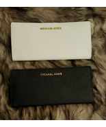 NWT Michael Kors Saffiano Leather Flat Bi-fold Card Wallet Optic White O... - $49.99