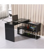 Modern High Gloss Rotate Office Desk BookShelf Combo Black - $248.44