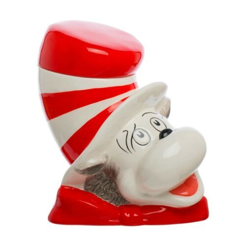 Primary image for Dr. Seuss The Cat In The Hat Cat Head Sculpted Ceramic Cookie Jar NEW UNUSED