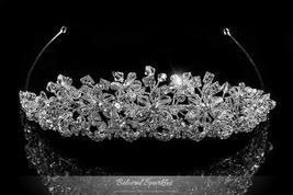 Azalea Crystal Flower Silver Tiara | Swarovski Crystal - $139.95