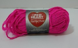 1 Skein Red Heart Reflective Yarn Bulky 3.5oz Neon Pink - $8.79