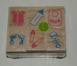Welcome New Baby Rubber Stamp Set of 6 Rattle Bib Footprints Hero Arts WM - $12.86