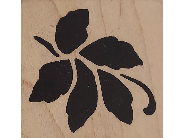 Magenta Floral Wood Mounted Rubber Stamp