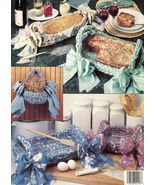 Crochet Fabric Bread Baskets Casserole Hot Food Carriers Leisure Arts Pa... - $12.99
