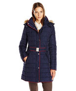 Tommy Hilfiger Women's Belted Down Coat with Fur Trim Hood, Navy, Large - $69.95
