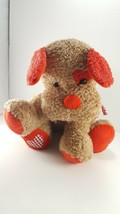 "Valentine Tan Pink Puppy Scruffy Dog Heart Paws Plush Stuffed Animal Soft 12"" - $13.85"