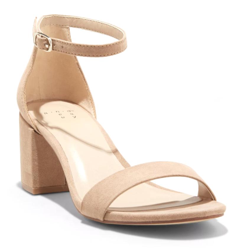 A New Day Women's Taupe Michaela Mid Block Heel Open Toe Sandal Pumps