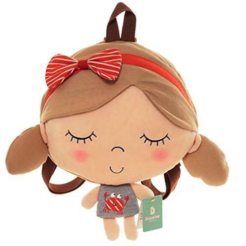 Baby Knapsack Cartoon Backpack Prevent from Getting Lost(Orange Striped Bow)