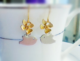 Silver Bird Gold Orchid Earrings - $28.00