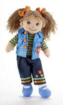 """Brown Hair Apple Dumplin Doll, Blue Quilted Vest,Tee, Capri Pants, 14"""", ... - $24.45"""