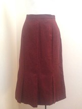 Vintage Skirt Sz 10 Fits XS/S Red Black Houndstooth Pleated - $21.54
