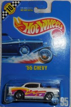 """1990 Hot Wheels White """" '55 Chevy"""" Collector #95 Mint Car On Sealed Card - $5.00"""