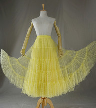 Women Tiered Long Skirt Outfit High Waisted Layered Yellow Tulle Skirt image 1