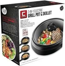 Chefman 3-In-1 Electric Indoor Grill Pot  Skillet Versatile Slow Cook Steam - $33.66