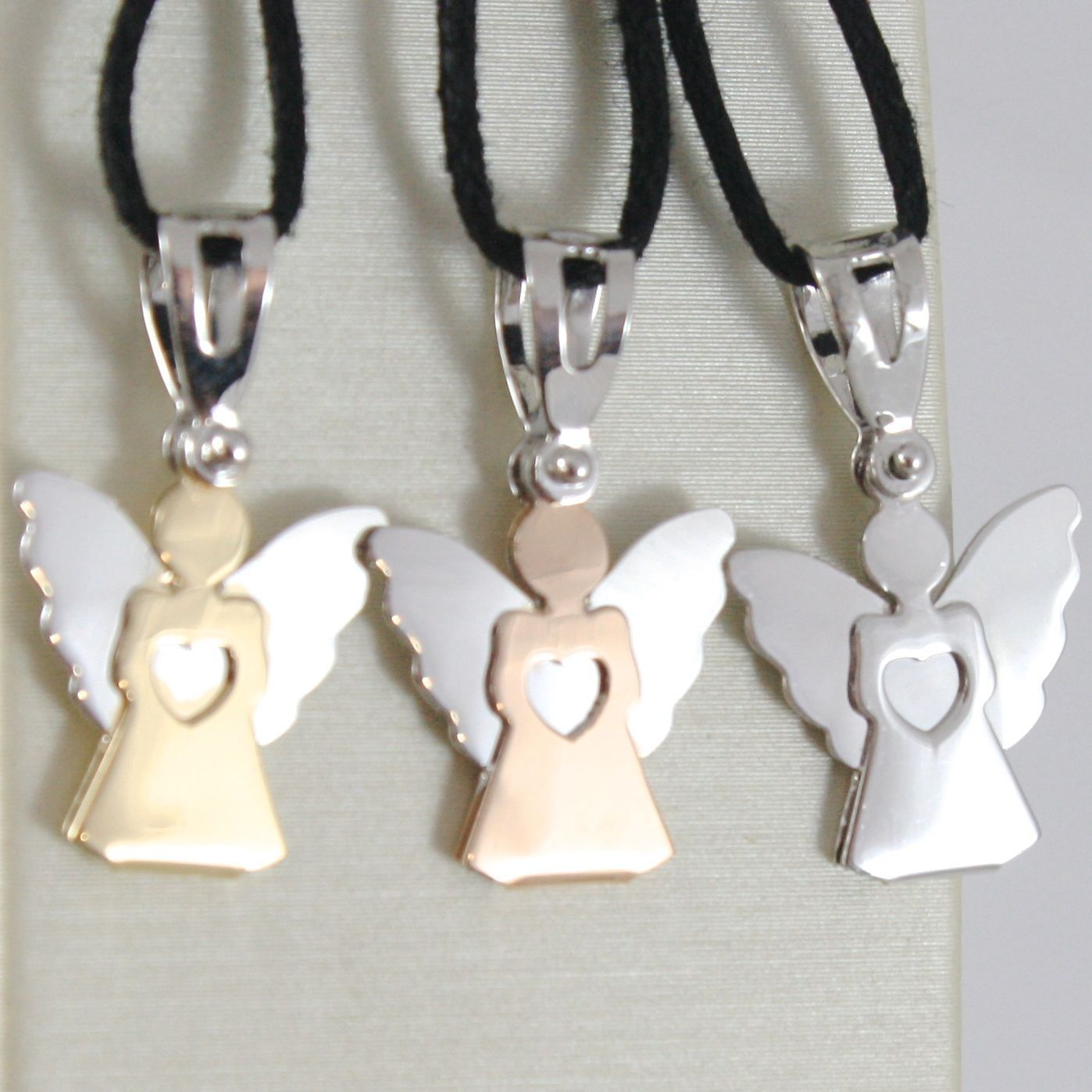 WHITE GOLD PENDANT, YELLOW AND 0,5 ROSE 18K, ANGEL GUARDIAN, HEART