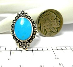Vintage Sterling Silver Turquoise Ring with Marcasites Size 5.5 - $35.00