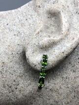Vintage Genuine Chrome  Diopside Gemstone 925 Sterling Silver Hoop Earrings - $133.65
