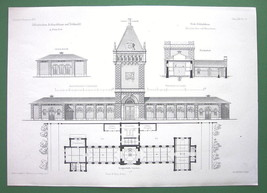 ARCHITECTURAL PRINT - Hungary Budapest Slaughterhouse Main Bldg + Tower - $14.85