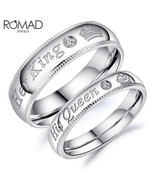 Romad Anillos Fashion Couple Rings Jewelry Her King His Queen Stainless ... - $9.00