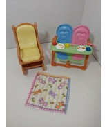 fisher price loving family dollhouse baby twin time high chair yellow ro... - $9.89