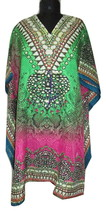 Gorgeous V-Neck Pretty Kaftan~Beach Kimono Caftan~Digitally Printed~Free Size - $9.02