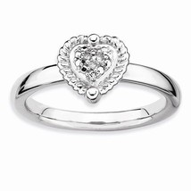 STERLING SILVER STACKABLE EXPRESSIONS HEART DIAMOND RING - SIZE 5 - £33.29 GBP