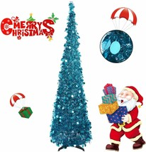 Collapsible Christmas Trees 6 Foot Artificial Tinsel Christmas Tree, Pop Up - $62.99