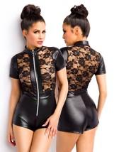 EFECTO MOJADO minishorts mono bodysuit Charol Encaje Body Vestido Transp... - $39.31