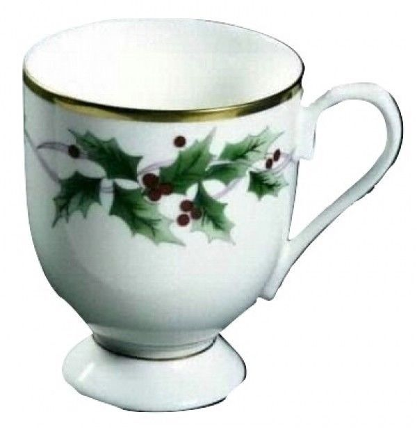 Primary image for Mikasa RIBBON HOLLY NEW IN BOX 4 FOOTED COFFEE MUGS (s)