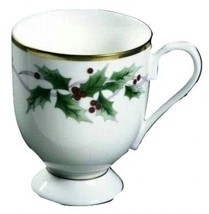Mikasa RIBBON HOLLY NEW IN BOX 4 FOOTED COFFEE MUGS (s) - $98.99