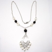 SILVER 925 NECKLACE, ONYX BLACK, WHITE PEARLS, PENDANT FLORAL image 2
