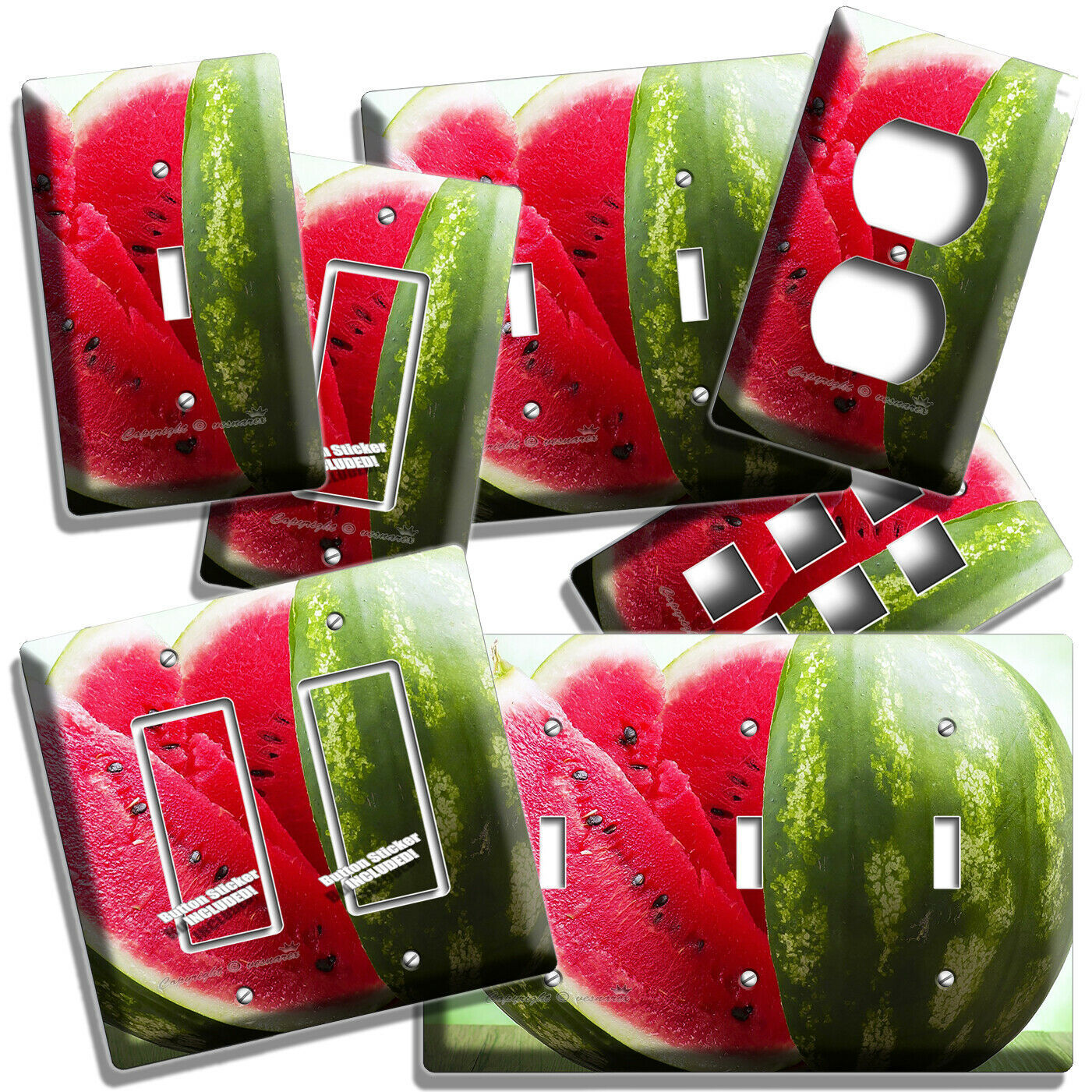 Primary image for RED WATERMELON SLICES LIGHT SWITCH OUTLET WALL PLATES KITCHEN PANTRY ROOM DECOR