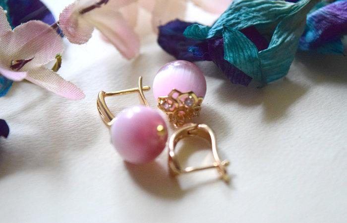 Pink Cat Eye Drop Down Earrings Gold Plated  Ear Hooks