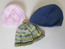 Baby Hats Hand Knit Lot of 3 No Tags Approximately 3-6 Months Infant Bea... - $9.99