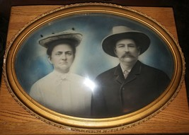Mid 1800's Framed Photograph Husband and Wife Bubble Glass Colored Dague... - $499.95