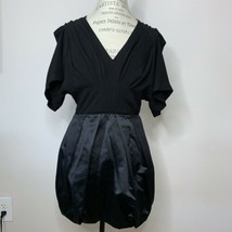 BCBG Runway Short Black V Neck Cocktail Dress Bubble Hem Open Back Size 6 - $75.00