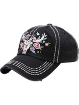 Distressed Country Western Cowgirl Longhorn Flowers Hat Baseball Cap image 2