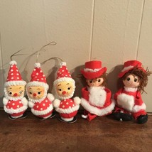 Vintage Christmas Inarco Japan Santa Ornaments Decorations Chenille Pipe... - $32.66