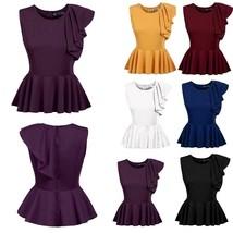 """Women""""s Sleeveless One Shoulder Asymmetric Ruffles Slim Fit Peplum Top W2YN - $21.00"""