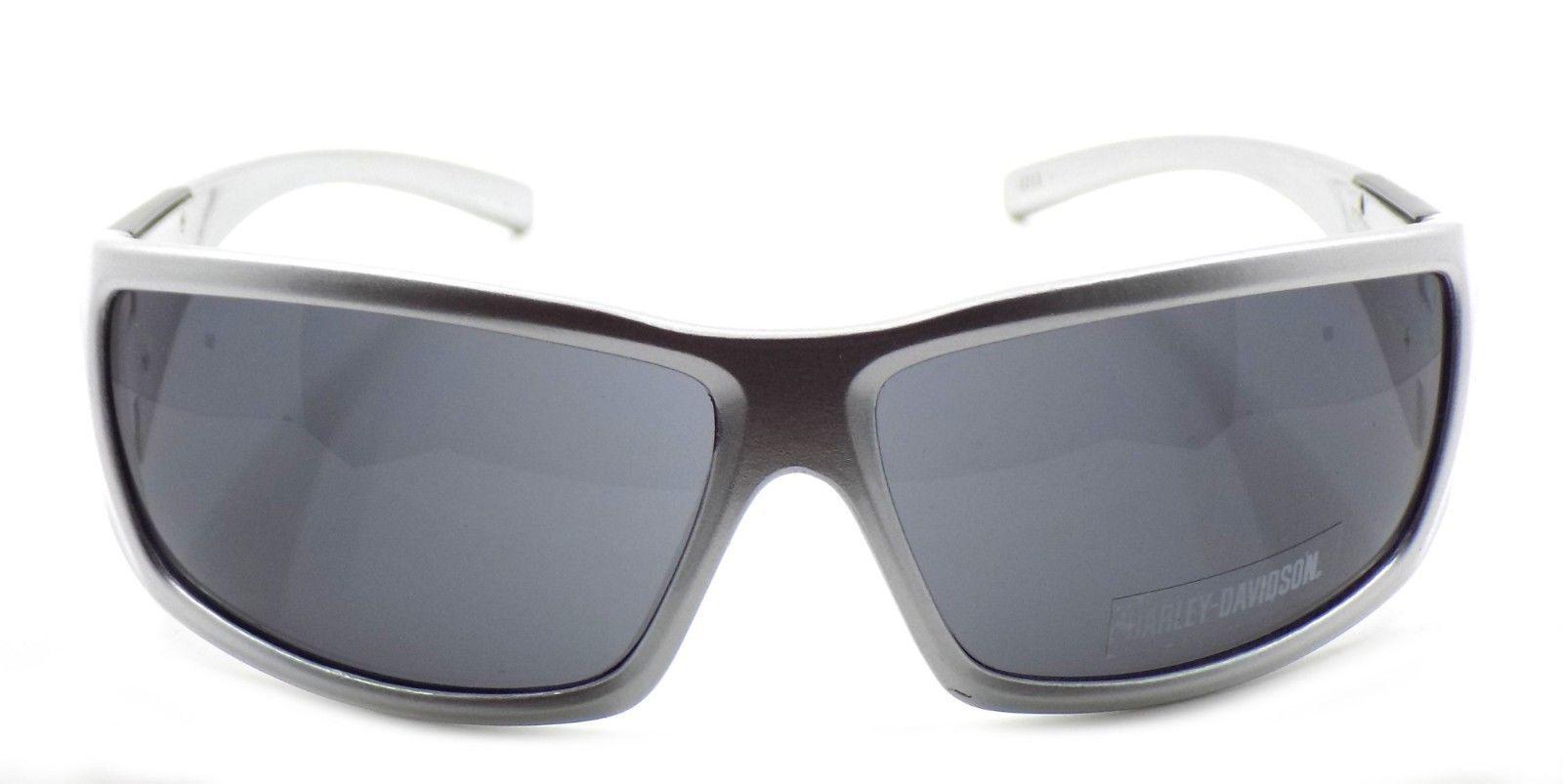 Harley Davidson HDX872 SI-3 Wraparound Sunglasses Silver 67-14-130 Smoke + CASE