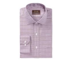 Tasso Elba Classic Fit Non-Iron Burgundy Textured Glenplaid Dress Shirt 16X32-33 - $24.74
