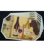 WINE Design PLACEMATS Set of 4 Vinyl Octagon French Italian Vineyard Cha... - $14.99