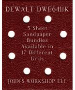 DeWalt DWE6411K - 1/4 Sheet - 17 Grits - No-Slip - 5 Sandpaper Bulk Bundles - $7.14