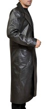 Mens Long Length Welling Smallville S9 Trench Leather Coat image 2