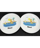 Vintage Papel Maui Hawaii Souvenir Salad Plates Lot of 2 Sailboats USA S... - $24.74