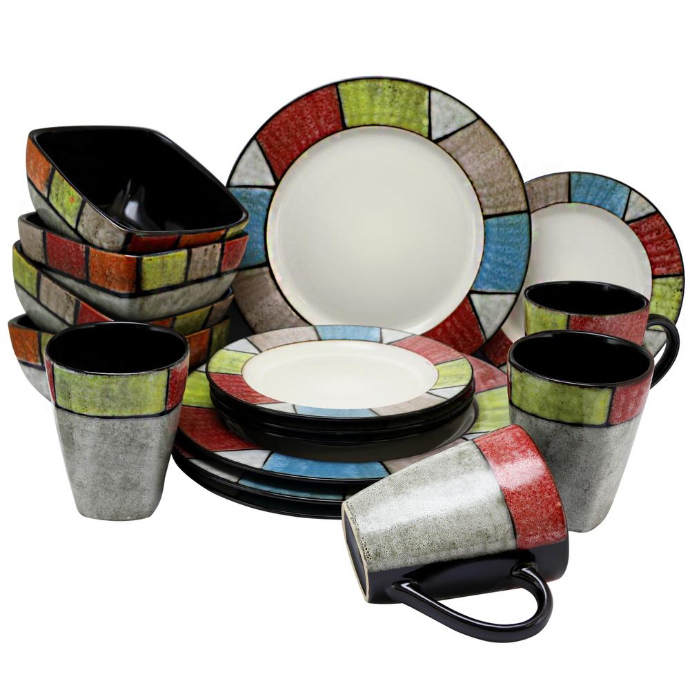 Elama Country Cottage 16 Piece Stoneware Dinnerware Set