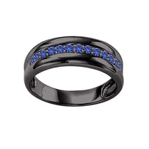 14k Black Gold Finish 925 Solid Silver Blue Sapphire Mens Engagement Rin... - $92.99